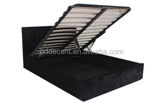 Wood Double Lift-up Storage Gaslift Crushed Velvet Bed Designs with Box Lifting King Bed Frame