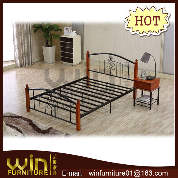 latest metal bed designs with rubber wood post