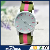 sapphire crystal watch price /custom print lady watch with changeable nylon straps