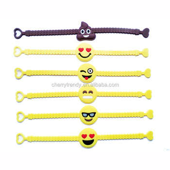 Emoji PVC Bracelet Party Supplies Emoji Rubber Wristband For Kids