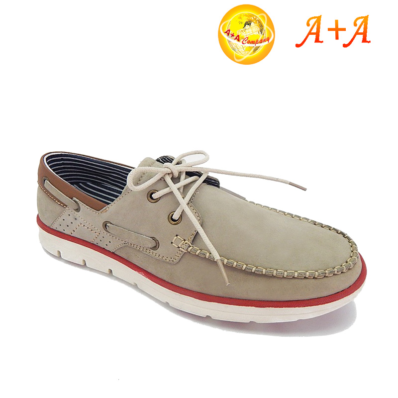 Lace up casual men leather shoes grey wholesale popular loafer