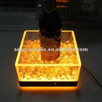 yellow LED lighting beer bucket bottle holder display stand