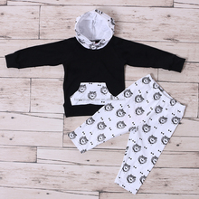 Printed Black Shirt and White Pants Baby Boys Christening Outfits