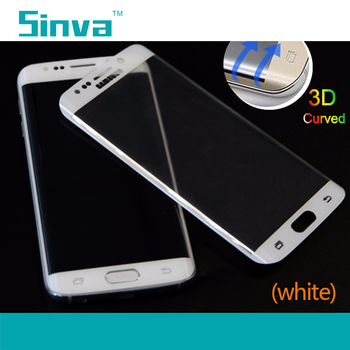 Sinva factory Excellent colorful 3D Curved full cover s6 edge tempered glass screen protector