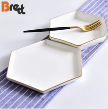 <strong>Flat</strong> white hexagon shape porcelain dinner plate cake plate with gold rim