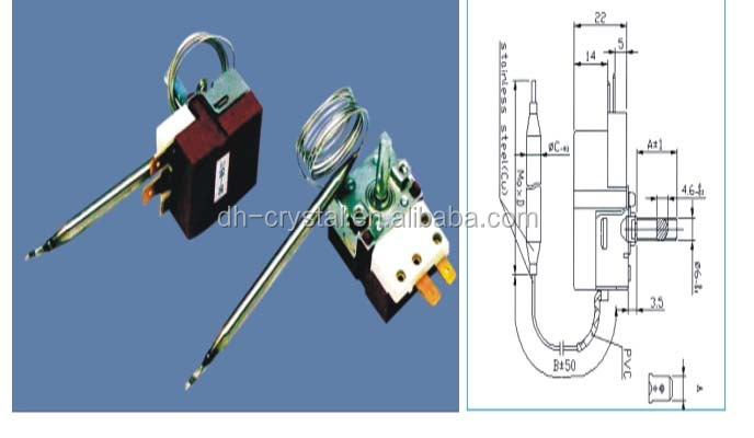 High quality Capillary Thermostats for heater 250V/16A with CE