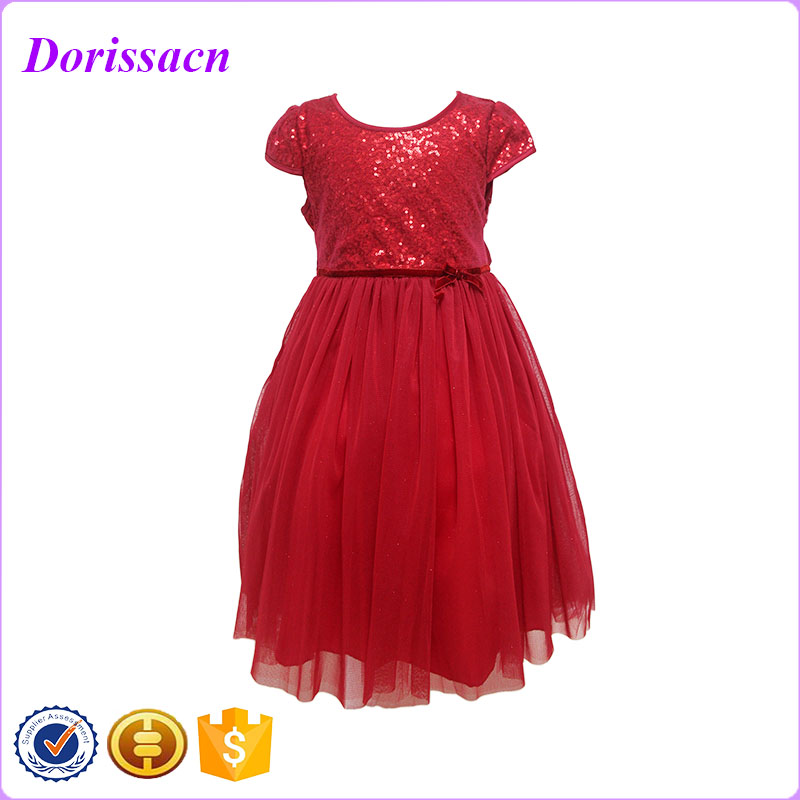Fashion Baby Dress Sequin Fabric Girl Party Wear Western Dress Up Games For Girls