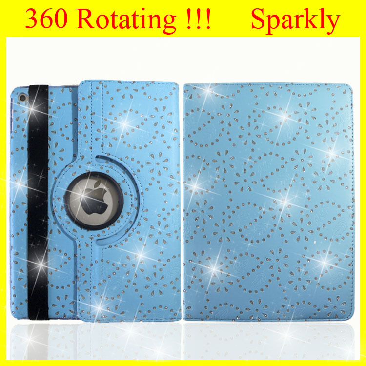 For iPad mini Retina Case for Apple iPad air Case Leather Rotating Bling Glitter for iPad 1 Case Factory Wholesale Promotion