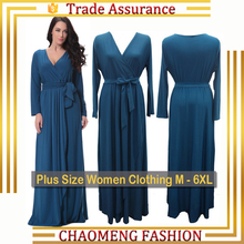 6007# High Quality Chic Boutique V Neck Spring & Winter Dresses Long Sleeve Evening Maxi Vintage Dress Plus Size Women Clothing