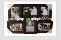 "low price ""5x7"" 4x6"" brown 6 photos in 1 plastic photo frame"