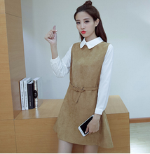2018 new school's wind doll collar shows thi two long sleeve splicing short dresses