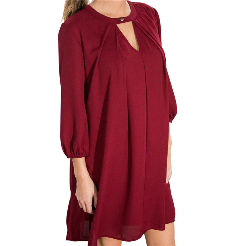 2016 Online Sale Three Quarter Sleeve Pure Color Loose Red Women Summer Dress Casual Clothes