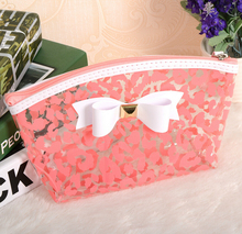 China Wholesale PVC Cosmetics Bag Plain Travel Makeup Bags Pink Toiletry Bag With Compartments