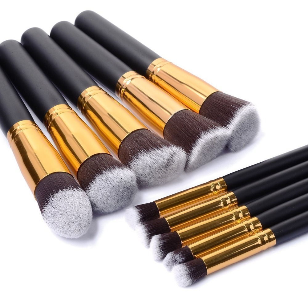 10PCS High Quality Makeup Brushes New Black Cosmetics Foundation Blending Blush Wooden Makeup Tools Pinceis Maquiagem