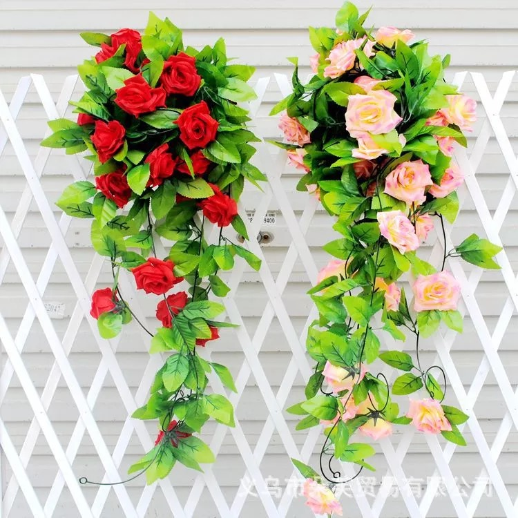 7.54ft String Fake Artificial Rose Flowers Vine Ivy Leaf Garland Floral Home Decor