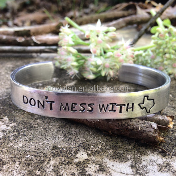 Don't mess with TEXAS handstamped bracelet