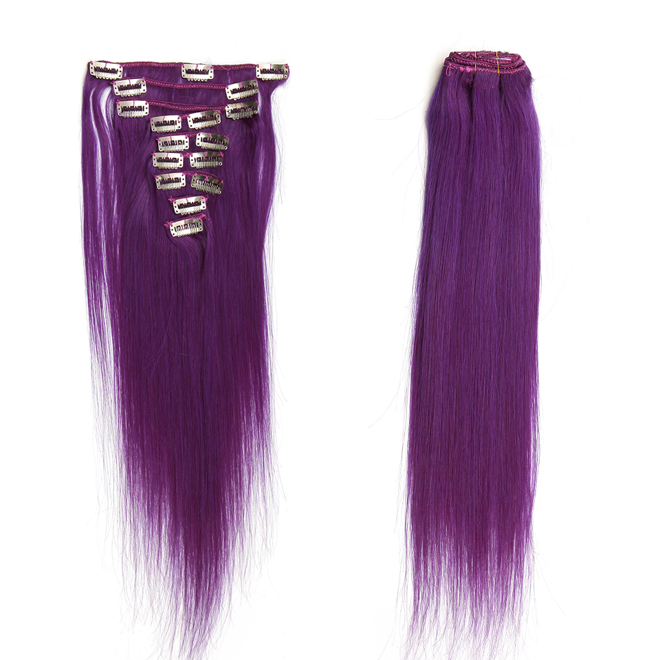 Buy 9pcsset Brazilian Purple Clip In Human Hair Extensions 7a