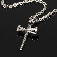 Marlary Fashion Silver Chain Baseball Cross Men Stainless Steel Symbol Cross Pendant Necklace