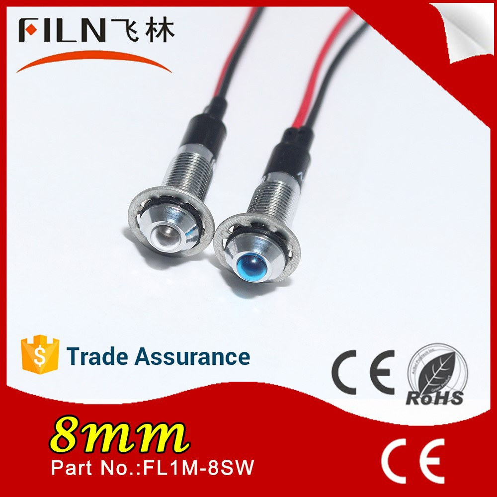 New product 8mm mounting size slip indicator light with wire Led lamp