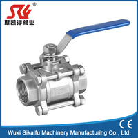 Stable quality extend stem alloy steel 3 pc female ball valve
