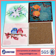 Square 4 pcs set cereamic coaster with cork bottom