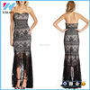 women fashion strapless full length black lace evening dress