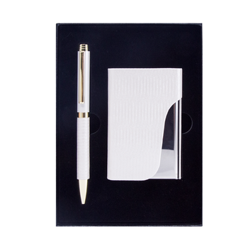 2019 new design Small MOQ Customize logo Pen Gift Set with Business Card Holder