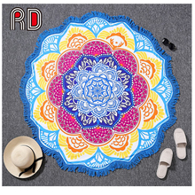 2017 Hot 150cm Summer Boho Round Beach Towel Tassel Mandala Circle Beach Towels