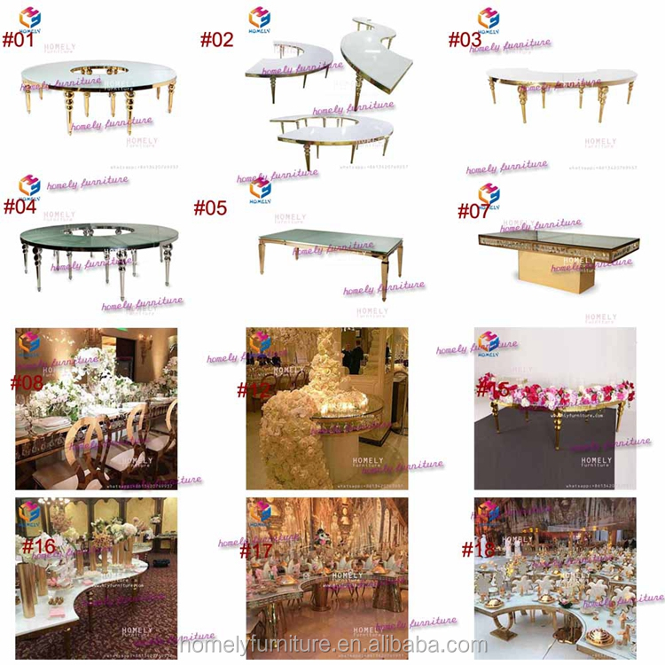 stainless steel event wedding party gold rectangle black tempered glass top crystal customized dining table