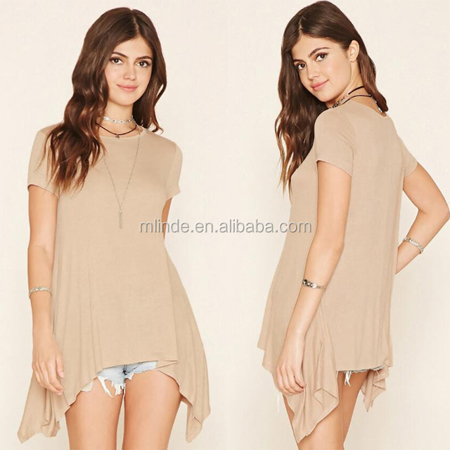 Sexy Wholesale Cheap Long Blouse Knit Short Sleeve Round Neck Burnout Trapeze Swing Top Online Shopping For Tops And Kurtas