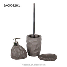 Debossing effect resin bathroom 3 pics accessories/sets from factory direct sale