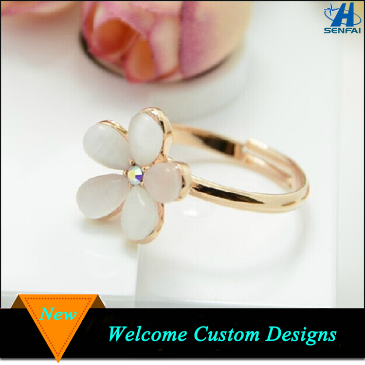 Latest Fashion Jewelry Zinc Alloy Flower Shape Gold Design Opal Ring For Girls