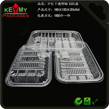 Disposable blister plastic PET food tray,clear PET plastic disposable blister food tray,food grade blister packaging tray