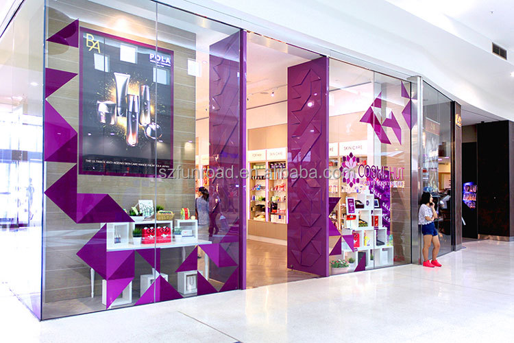Brand cosmetics glass retail displays for nail beauty spa decoration
