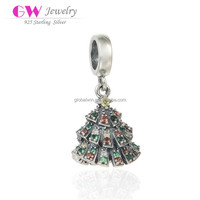 Antique Finish Christmas Tree Paved Garnet And Green Zircon Stones Fit For Necklace And Bracelet Silver Pendant Charms