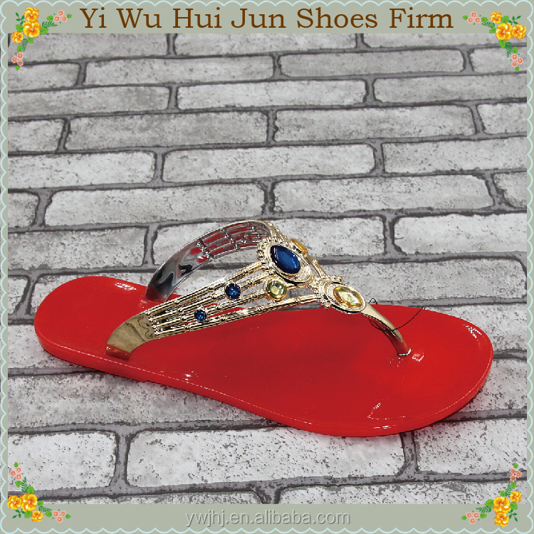 Women Blue Slippers Red Eva Flip Flops Emboss