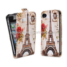 3D Image Leather Flip Open Case For iPhone 4/4S
