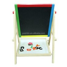 2017 wooden double side magnetic children drawing board capable of go up and down