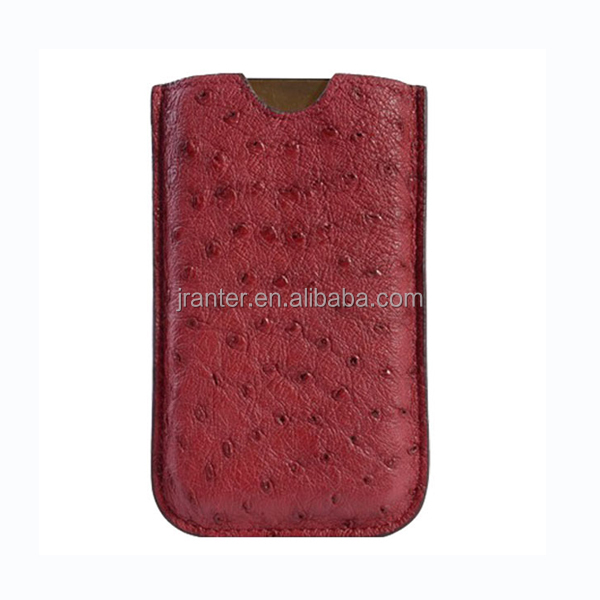 High End Fashion Ostrich Leather Cell Phone Holder For phone Pouch Case