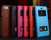 "Two View Flip Silm Ultra thin Genuine Leather Case Cover For iPhone 6 Plus (5.5"")"