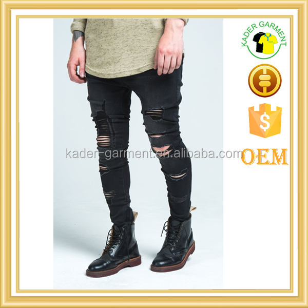 2017 new style jeans pent men cheap skinny stretch ripped jeans