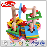 new vision direct factory price geometrical shape wooden shopping cart toy