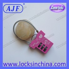 AJF high quanlity pink color combination locks suitcase locks