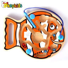 Wholesale top quality fish shape wooden magnetic maze toy for kids play W11H011