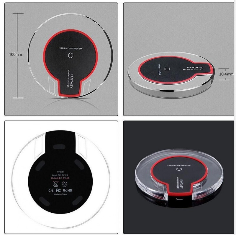 Fantasy Qi Wireless Charger Crystal UFO Shape Charging Pad with LED Light for iphone 8 charger for Samsung Galaxy S8