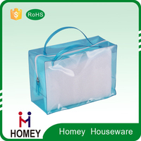 transparent clear round pvc case plastic pvc packing case bag with zipper closure and top handle wallets for men