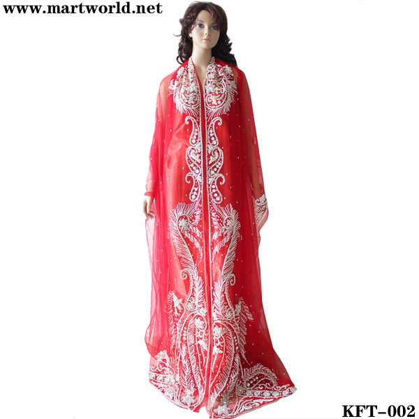 festive red kaftan india with pearls beads and rhinestones (KFT-002)