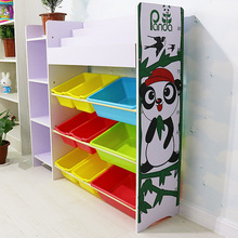 SGS Certified new style Easy Assemble Children book MDF toy shelf storage cabinet with plastic box for kids