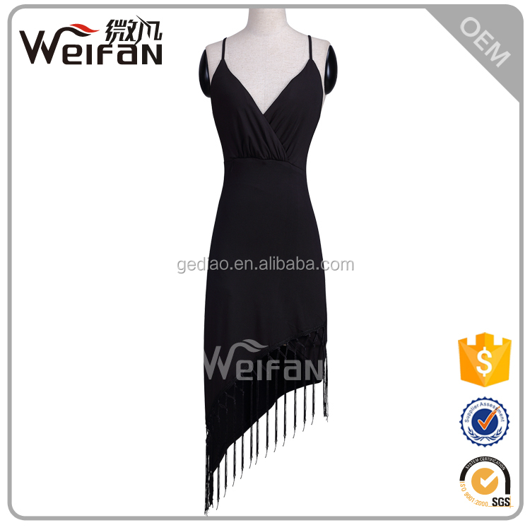womens black polyester & brasso knee length dress with taasels,womens bodycon knee length evening dresses