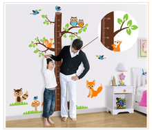 Squirrel Tree Cute animals kids height growth measurement chart wall stickers